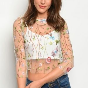 Tops - Felicia's Flower Garden Embroidered Sheer Crop Top